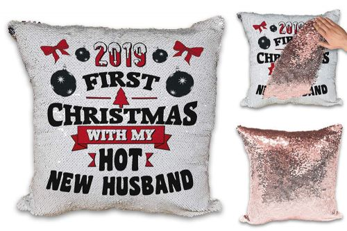 2019 First Christmas with My Hot New Male Relation Sequin Reveal Magic Cushion Cover